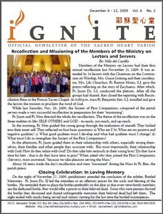 Recollection and Missioning of the Members of the Ministry on Lectors and Serves Sacred Heart, Ministry, Blog, Blogging