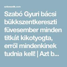 Szabó Gyuri bácsi bükkszentkereszti füvesember minden titkát kikotyogta, erről mindenkinek tudnia kell!   Azt beszélik Minden, Art, Diet, Kunst, Art Education, Artworks