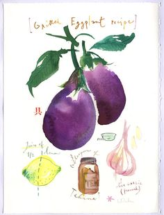 Art for kitchen  Grilled eggplant recipe by lucileskitchen on Etsy, $68.00