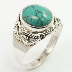 TURQUOISE (S) Cabochon Gemstone 925 Sterling Silver Vintage Style Ring Size US 8 #SunriseJewellers