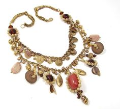 """ANTIQUED GOLD TONE 20"""" AMBER COLOR GLASS BEAD UNIQUE BEAD BIB STYLE NECKLACE"""