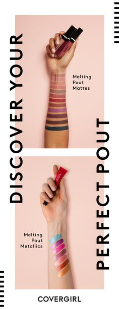 Go matte or metallic with COVERGIRL Melting Pout Liquid Lipsticks. Each formula is infused with nourishing ingredients for a smooth finish and high-impact, super rich color. Discover your perfect pout today.