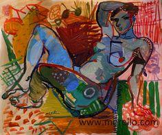 Jose Manuel Merello.-Blue nude (40 x 48 cm) Mix media on paper MODERN ART NUDES. EXPRESSIONISM.  Art espagnol. Art contemporain. Peintres espagnols modernes. Expressionnisme et le surréalisme. La couleur dans l'art moderne. Artistes. www.merello.com