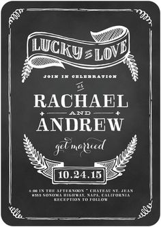 Chalk illustrations and a chalkboard background make this wedding invitation template a perfect option for a DIY or creative bride.