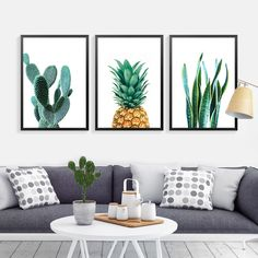 Cactus Wall Art Canvas Decorative Pictures Pineapple Green Plants Wall Pictures For Living Room Canvas Prints Poster Unframed