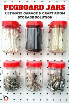 accessories organization Tall pegboard jars help you maximize your garage or craft room storage needs. Take your hardware and accessory organization and display to a new level. Craft Room Storage, Pegboard Craft Room, Art Supplies Storage, Pegboard Organization, Organization Ideas, Storage Sets, Jar Storage, Garage Storage, Garage Accessories