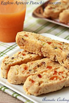 For this month's challenge for the Eggless Baking Group, Gayathri had chosen Apricot Pistachio Orange Biscotti from Baking Obse. Eggless Desserts, Eggless Recipes, Eggless Baking, Veg Recipes, Vegan Baking, Vegan Desserts, Indian Food Recipes, Baking Recipes, Cookie Recipes