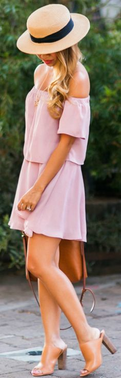 Off the shoulder dress + flirty and summery look + Kim Le + blush pink dress + cute straw hat + pair of orange wedges + dress + ultra feminine + fresh for summer   Dress: ASOS, Bag: Madwell, Hat: Urban Outfitters.