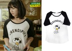 "Jung Eun-Ji in ""Trot Lovers"" Episode 1.  Whole Hauss Snoopy Raglan Shirt #Kdrama #TrotLovers #JungEunJi #정은지"