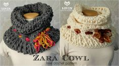 This free crochet cowl pattern works up incredibly fast and can get you a big bang for your buck. The Zara Cowl was inspired by the Zola Bulky Stacked Shell Cowl