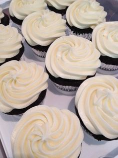 Gluten and dairy free frosting on cupcakes made from Bobs Red Mill Gluten free cake mix.