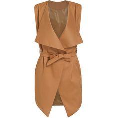 SheIn(sheinside) Khaki Lapel Belt Vest (38 CAD) ❤ liked on Polyvore featuring outerwear, vests, jackets, khaki, sleeveless vest, beige vest, vest waistcoat, sleeveless waistcoat and khaki vest