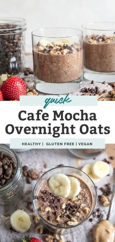 Delicious Mocha Overnight Oats – a great healthy meal prep breakfast! Ingredients like coffee, cocoa powder, oats, chia seeds and milk make up this easy recipe. Mix everything in a jar, refrigerate for about 4 hours and you're good to go! A gluten free and vegan friendly breakfast option. Add toppings like berries, bananas, nuts and your favorite nut butter. Breakfast On The Go, Easy Healthy Breakfast, Breakfast Recipes, Healthy Meal Prep, Healthy Recipes, Brunch Recipes, Healthy Food, Clean Recipes, Low Carb Recipes