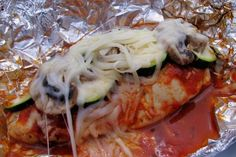 Foil Packet Chicken Parmesan for the grill or oven!