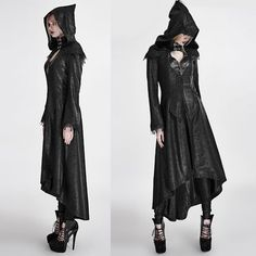 Black Hooded Medieval Gothic Fashion Trench Coat Overcoat for Women SKU-11401265