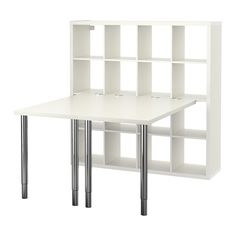 KALLAX Workstation - white - IKEA adjustable table: - You can use the connection hardware to attach any non-glass table top in our range to a KALLAX shelf unit. Ikea Kallax Desk, Kallax Shelf Unit, Shelving Units, Storage Shelving, Drawer Unit, Hack Ikea, Ikea Linnmon, Corner Workstation, Corner Desk