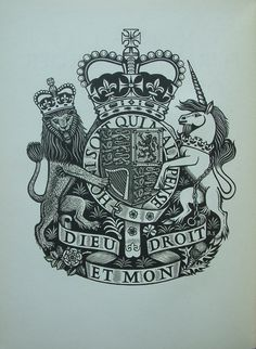 The Royal Arms engraved by Stone for the Order of Service of the 1953 Coronation