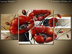 Tlačený obraz s hodinami Poľný mak 80x40cm ZP2383A_3AX