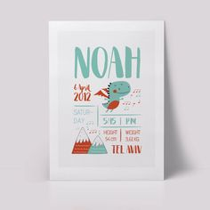 Personalised Birth Facts Print/ Digital Picture - The songs of mountain dragons