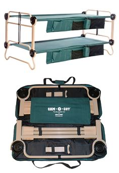 Cam-O-Bunk. The Cam-O-Bunk is a portable, compact bunk-bed system you can take anywhere for over-and-under sleeping wherever space is limited. It will save floorspace in your tent or just make it feel like a night in jail. No tools are required for assembly and it can be set up as 2 separate cots or as a couch/bench as well.
