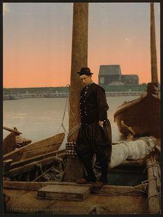 interesting antique photo of a sailor, colorized...Marken 1890