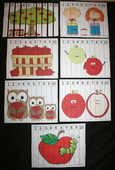 Apple puzzles for helping with sequencing numbers 1-10. FREE download.