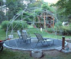 Just imagine how glorious this geodesic trellis would be covered with flowering vines.