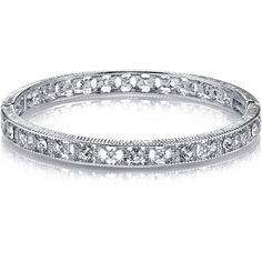 1928 Jewelry Crystal Silver-Tone Filigree Stretch Bracelet ($17) ❤ liked on Polyvore featuring jewelry, bracelets, stretch bracelet, bracelet bangle, crystal stone jewelry, silver tone jewelry and crystal jewellery