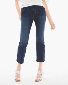 Chico's Women's Platinum Crop Flare Jeans, Fenton Indigo, Size: 1.5 (10 - M)