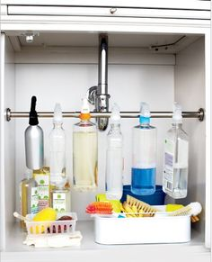 A super smart idea for #organizing cleaning products underneath the kitchen sink.