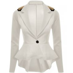 454ef6e8b1d New Womens Ladies Long Sleeves Spikes Peplum One Button Jacket Coat Blazer  Top: Amazon.co.uk: Clothing