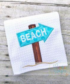 Beach Sign Applique $ REPIN THIS then click here: https://creativeappliques.com/