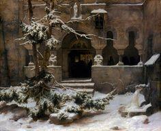 Karl Friedrich Lessing | Karl Friedrich Lessing (1808-1880), Klosterhof im Schnee cortile del ...
