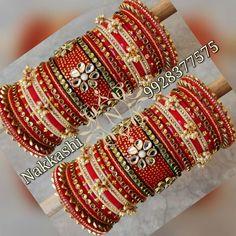 Bridal Bangles, Bridal Jewelry, Jewelry Box, Chuda Bangles, Silk Thread Bangles Design, Bridal Chuda, Rajputi Jewellery, Bangle Set, Bangle Bracelets