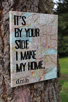 "Amazing and one of a kind wedding gift.  Also perfect for deployed military families.  Love this song.  11x14 ""Loving Wings"" lyrics by Dave Matthews.  Hand stamped lyrics over Vintage National Geo map pieces from all over the world. Created by Houseof3,"