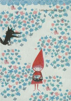 Shinzi Katoh fairy tale postcard with Red Riding Hood 1