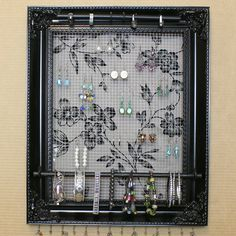 """Jewelry Organizer Display Rack Holder Picture Frame w/Fabric- 15""""x18""""- Large"""
