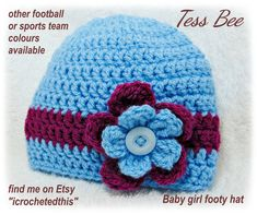 Football Team Baby Hat Baby Girl Flower Hat Claret & Blue | Etsy Baby Flower, Flower Hats, Baby Girl Hats, Girl With Hat, Crochet Round, Cute Hats, Button Flowers, Baby Month By Month, Handmade Baby