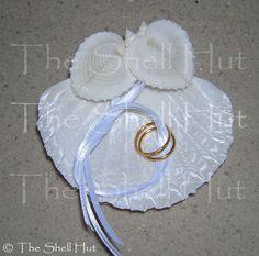 Ring Bearer Pillow Seashell Beach Wedding Hearts Shell Tropical Seaside Bride #Handmade