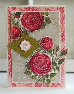 Anna Griffin stamped card.   Link takes you to a slide show of cards, but this one is not on it.    I am pinning this as inspiration for using some of my larger background stamps and my large La Blanch rose stamp.
