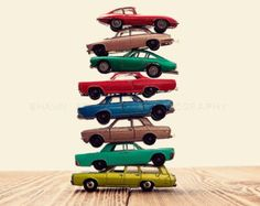 Car Pile The Red Bus Jump Photo Print Boys Room by shawnstpeter