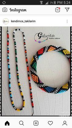 Orange Pearl Necklace Set for Ladies - Jewellery Set - African Beads Jewellery Set - Tribal Jewellery Set - Zulu Necklaces - Maasai Necklaces - Your Present Crochet Beaded Bracelets, Beaded Bracelets Tutorial, Woven Bracelets, Seed Bead Bracelets, Seed Bead Jewelry, Handmade Bracelets, Beaded Earrings, Handmade Jewelry, Colorful Bracelets