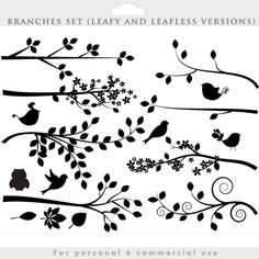 Branch silhouette clipart  tree clip art silouette whimsical
