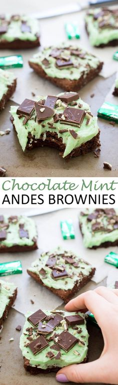 Ultra Fudgey Chocolate Mint Andes Brownies topped with a thick layer of Peppermint Buttercream Frosting. Perfect for St Patricks Day!