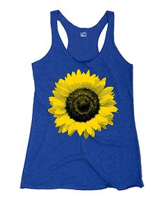 Look at this Royal Blue Sunflower Racerback Tank on #zulily today!