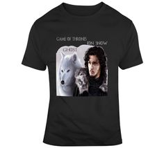 Jon Snow And Ghost  T Shirt Gifts For Friends, Jon Snow, Shirt Style, Tv Series, Prints, Mens Tops, How To Make, Cotton, T Shirt