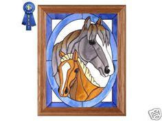 16x13 HORSE & COLT Stained Art Glass Framed Window Suncatcher