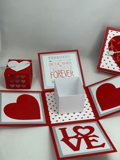 Red and White Valentines Day Explosion Box Easy Diy Gifts, Diy Gift Box, Diy Birthday, Birthday Cards, Exploding Boxes, Diy Gifts For Boyfriend, Boyfriend Birthday, Red And White, Valentines Day
