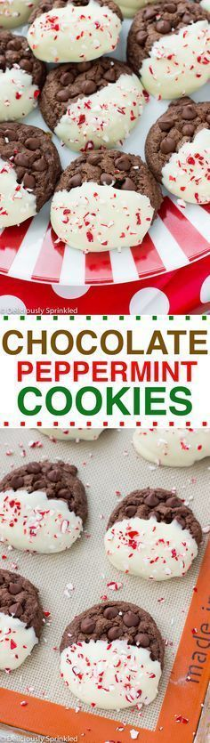 Chocolate Peppermint Cookies- easy Christmas cookie recipe! #christmascookies #holidaypartyfood #christmasdesserts #christmasfood #hoidayfood #peppermint #christmascrafts