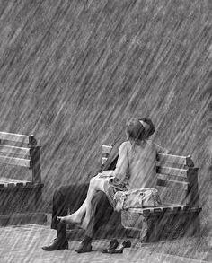 les amoureux sont seuls au monde...même sous la pluie.